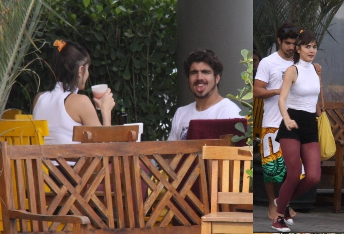11.out.2013 - Caio Castro e Maria Casadevall são flagrados almoçando juntinhos em um restaurante na Barra da Tijuca, no Rio. Ao perceber que estava sendo fotografado, o ator fez careta