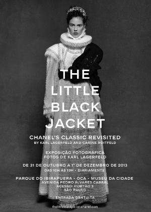 """Convite para a exposição """"The Little Black Jacket"""", que reunirá fotos do estilista Karl Lagerfeld em São Paulo. A mostra já passou por diversos países e chega à OCA em 31 de outubro de 2013"""