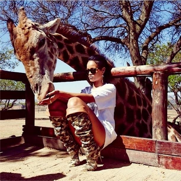 14.out.2013 - Rihanna alimenta uma girafa durante visita ao Lion Park em Johannesburgo