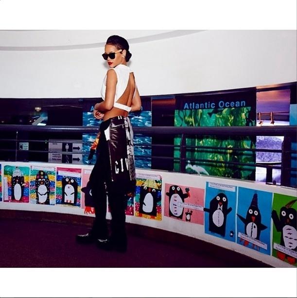 14.out.2013 - Rihanna faz pose em aquário de Cape Town