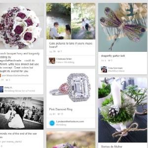 Painel de Casamento do aplicativo Pinterest reúne referências de buquês, vestidos, penteados e decoração, entre outros