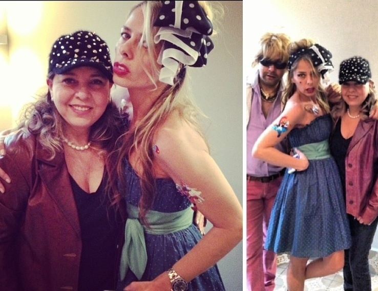 22.out.2013- Vestida de Amy Winehouse, Galisteu vai à festa com Roberta Miranda