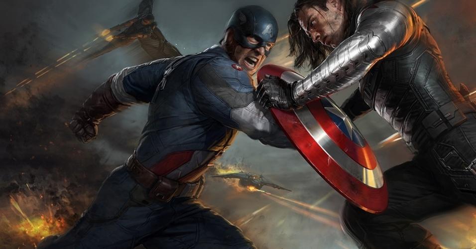 """Arte conceitual de """"Capitão América 2: O Soldado Invernal"""" mostra o herói lutando com o vilão que dá nome ao filme"""