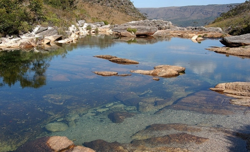 Formação da Cachoeira Casca D'anta na Serra da Canastra, em Minas Gerais