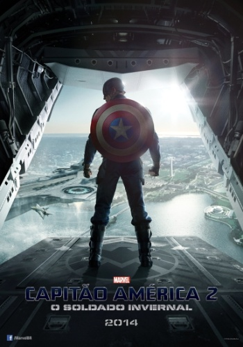 """No primeiro pôster nacional de """"Capitão América 2 - O Soldado Invernal"""", Steve Rogers (Chris Evans) aparece pronto para saltar de um avião em direção ao porta-aviões que serve como quartel general da S.H.I.E.L.D."""