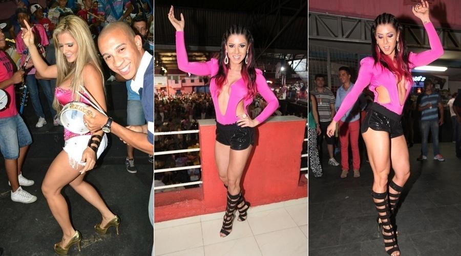 26.out.2013 - A modelo Denise Rocha e a ex-panicat Thais Bianca prestigiaram o ensaio realizado na escola de samba Rosas de Ouro, em São Paulo