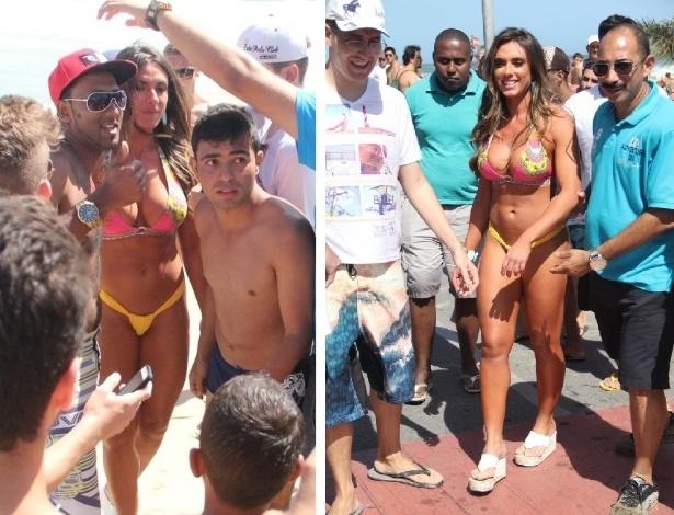 02.nov.2013 - Nicole Bahls faz sucesso ao caminhar de biquíni na Praia de Ipanema, na tarde deste domingo (2). A repórter do