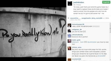 Bieber usou sua conta no Instagram para fazer um desabafo