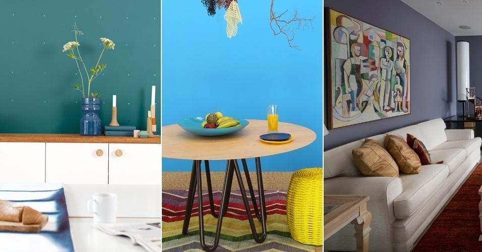 ultimas tendencias de decoracao de interiores:Tons de azul e o cinza-roxo são tendências para decoração em 2014