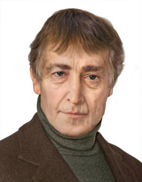 John Lennon, um dos fundadores dos Beatles, que morreu em 1980, aos 40 anos, imaginado nos dias de hoje. A arte faz parte de um projeto do Sachs Media Group com a companhia de manipulação de imagens Phojoe, que tentou imaginar como seria o visual de astros do rock já mortos