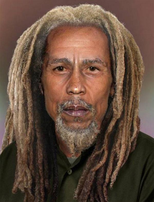 O Sachs Media Group se uniu à companhia de manipulação de imagens Phojoe para imaginar como astro do rock seriam hoje em dia caso estivessem vivos. Na imagem, a estrela do reggae Bob Marley, que morreu aos 36 anos, em 1981