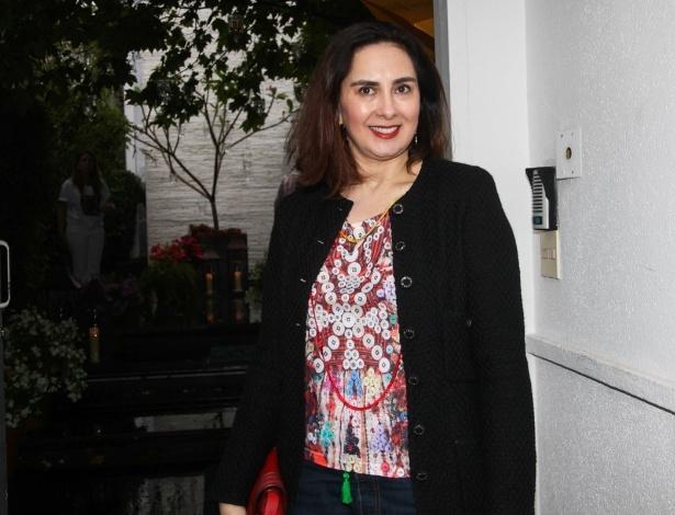 23.nov.2013 - Claudia Saad, mulher de Johnny Saad, presidente da Band, no aniversário da jornalista Ticiana Villas Boas no Jardim Europa, em São Paulo