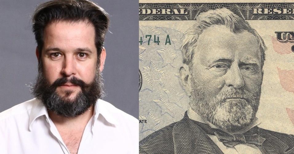 """28.nov.2013- Murilo Benício diz que se inspirou em imagem de nota de 50 doláres para barba do personagem. """"Foi uma sugestão minha para a direção"""""""