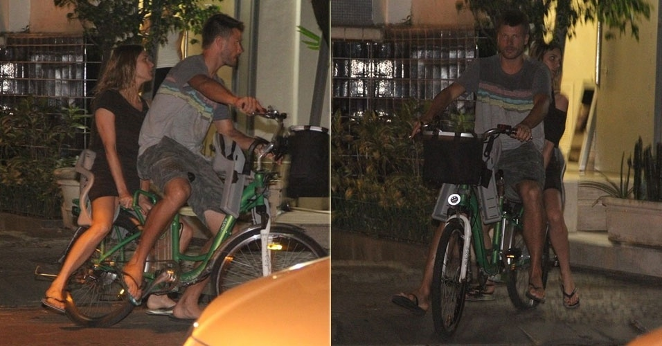 28.nov.2013 - Fernanda Lima e seu marido Rodrigo Hilbert vão de bicicleta jantar em restaurante no Leblon