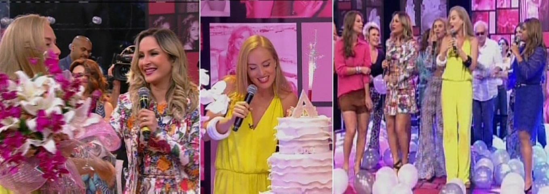 30.nov.2013 - Na tarde deste sábado (30), Angélica foi surpreendida por uma festa surpresa no palco do