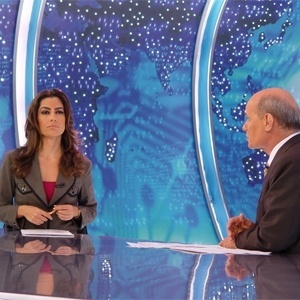"""2013 - Ticiana Villas Boas e Ricardo Boechat no """"Jornal da Band"""""""
