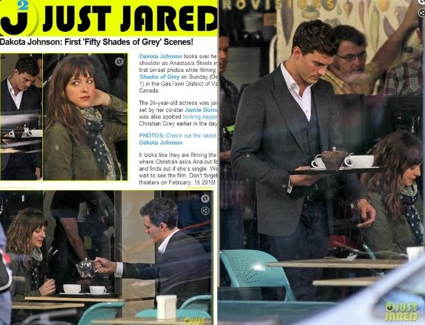 """2.dez.2013 - Dakota Johnson e Jamie Dornan foram flagrados no primeiro dia de filmagem de """"Cinquenta Tons de Cinza"""""""
