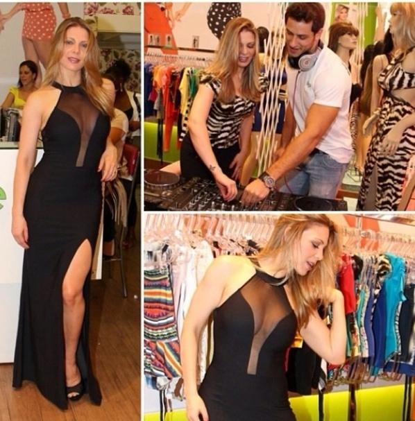 3.dez.2013 - Sheila Mello abusa de sensualidade com vestido de fenda e transparência em evento em São Paulo