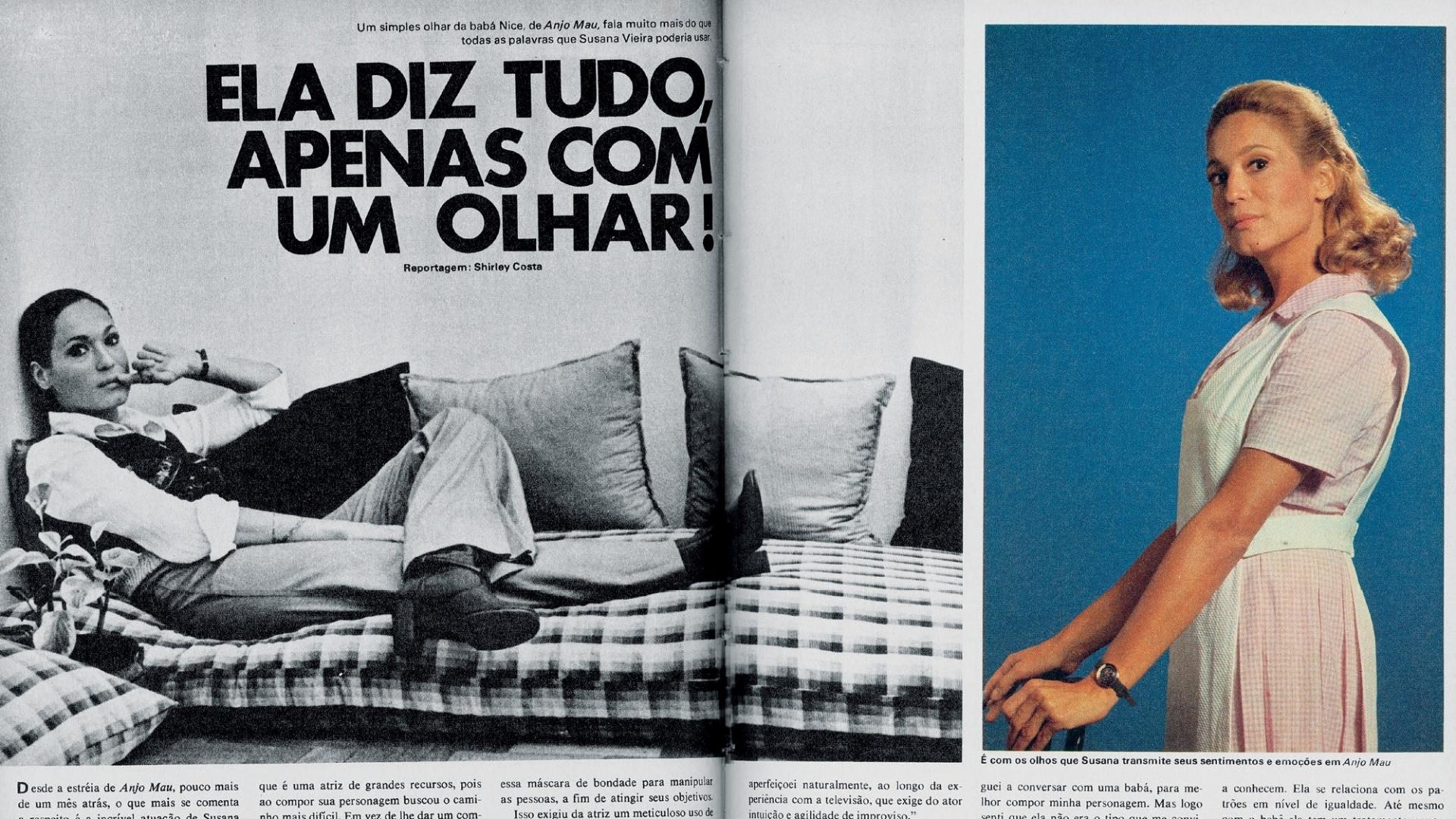 Susana Vieira em matéria de 1976, ano em que vivia a protagonista de