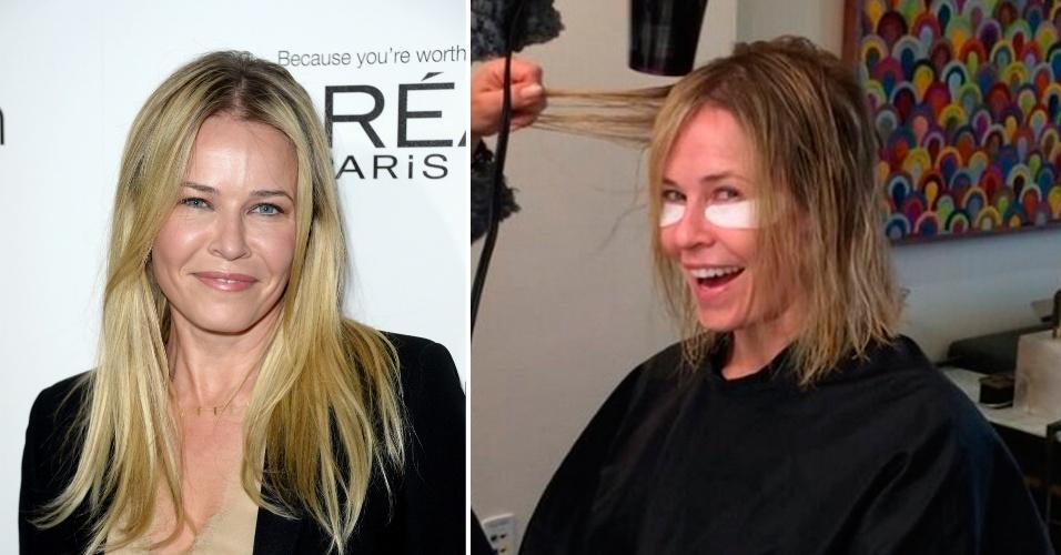 Dezembro - A apresentadora de TV norte-americana Chelsea Handler postou em seu Instagram uma foto de seu novo corte de cabelo. Ela, que sempre exibiu fios longos, decidiu pelo corte em estilo chanel, acima da linha dos ombros