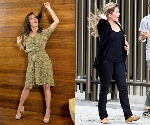 06.dez.2013- Deborah Secco é flagrada mais cheinha (foto da direita) nesta sexta-feira no Rio de Janeiro. A atriz ganhou peso para sua personagem no longa