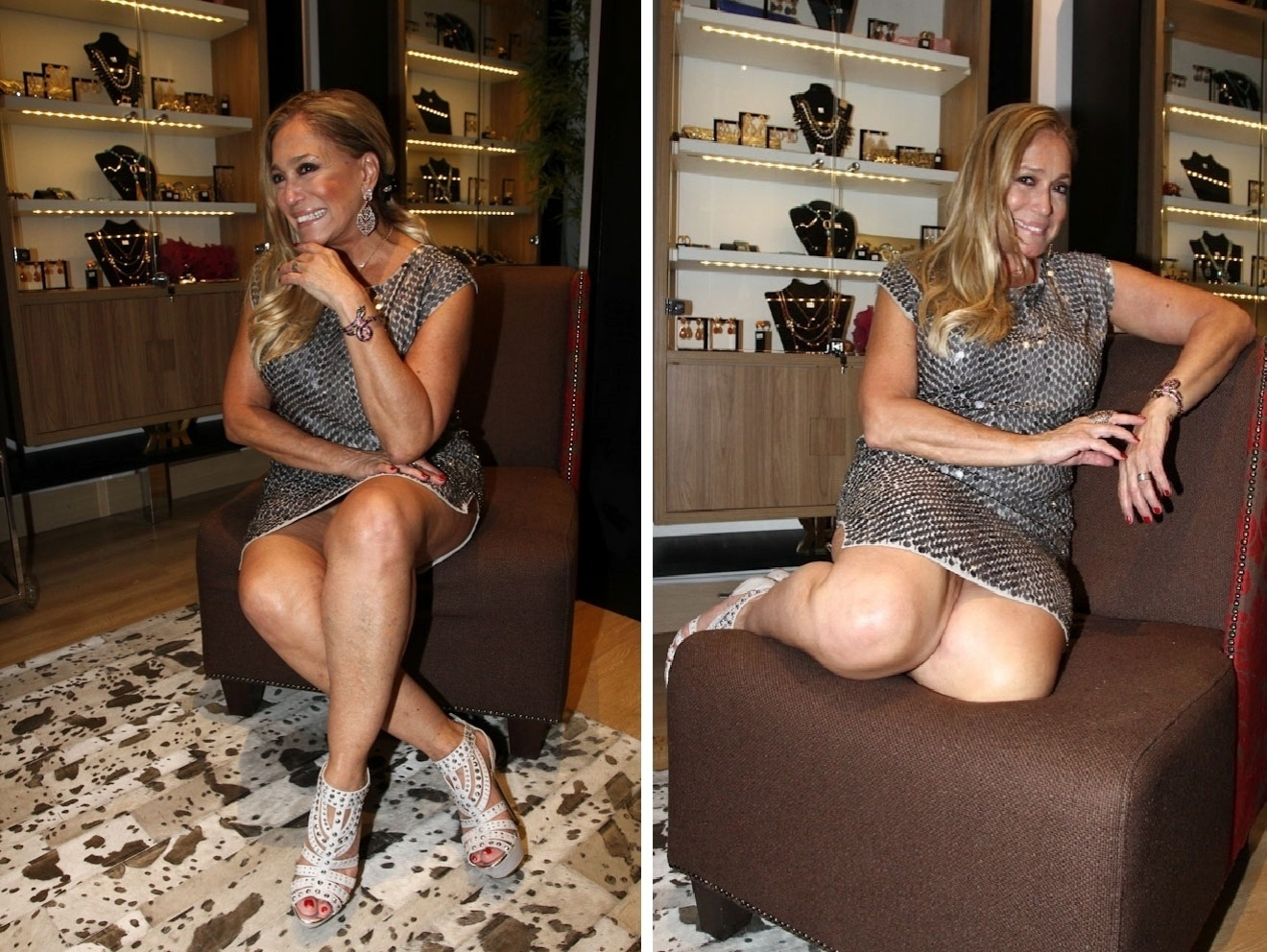 7.dez.2013 - Susana Vieira quase mostra demais ao posar para fotógrafos durante evento em São Paulo. Na tarde deste sábado (7), a intérprete de Pilar em