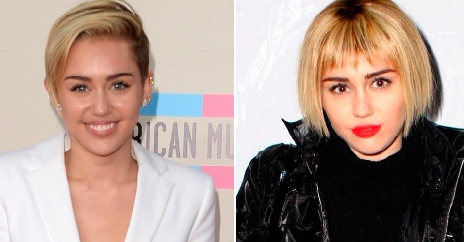 Dezembro - Para fechar o ano, a cantora Miley Cyrus decidiu mudar seu visual. Ela manteve os fios na tonalidade loira, mas agora eles estão mais longos. A franja frontal é novidade, cortada cerca de dois dedos acima das sobrancelhas