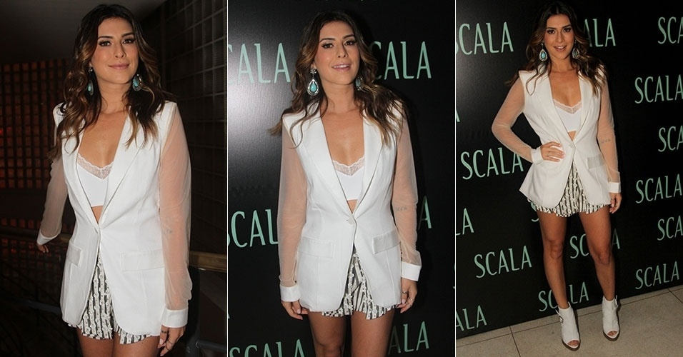9.dez.2013 - Fernanda Paes Leme prestigia festa de fim de ano da marca SCALA Lingerie no Riviera Bar, em São Paulo