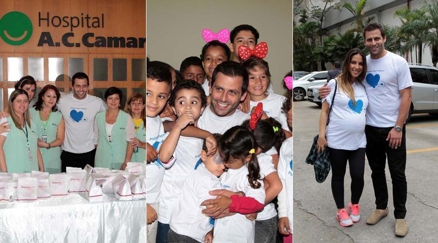 11.dez.2013 - Henri Castelli, e a namorada, Juliana Despirito participaram de uma festa realizada no Hospital AC Camargo, especializado em tratamento de câncer