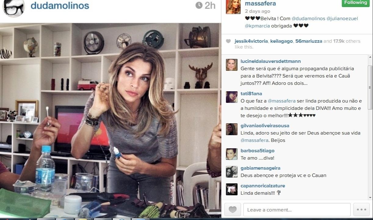 11.dez.2013- Grazi Massafera se prepara para gravação do comercial da marca Belvita