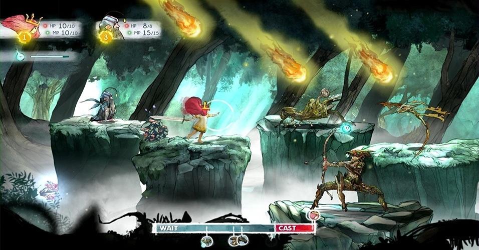"""""""Child of Light"""" é um RPG de plataforma inspirado por """"Grandia"""" em que uma jovem deve resgatar o sol, a lua e as estrelas da misteriosa Rainha da Noite"""