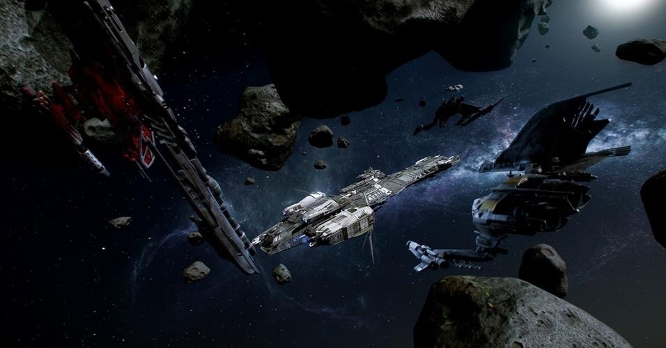 """Com financiamento pelo público chegando a quase US$ 35 milhões - e contando -, o simulador espacial """"Star Citizen"""" (Windows), do criador de """"Wing Commander"""", terá também jogabilidade de tiro em primeira pessoa"""