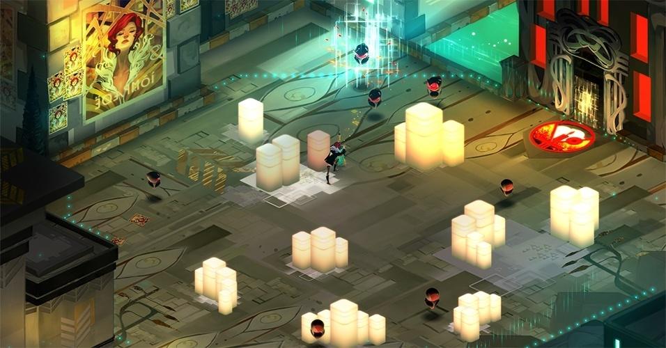 """Do estúdio de """"Bastion"""", """"Transistor"""" (Windows, Mac, Linux, PS4) tem uma temática cyberpunk, e mistura movimentação livre com combate em turnos"""