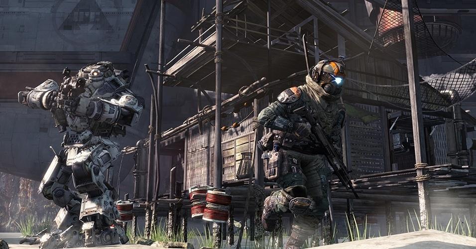 """Dos antigos responsáveis pela franquia """"Call of Duty"""", """"Titanfall"""" (PC, X360, XBO) promete um multiplayer frenético com tiroteios e robôs gigantes"""