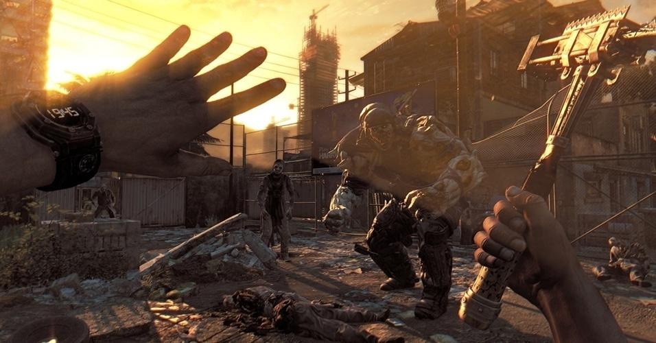 """""""Dying Light"""" (Windows, PS3, PS4, X360, XBO) é produzido pelo mesmo estúdio de """"Dead Island"""", e involve um ciclo de dia e noite; Quanto mais escuro, mais perigosos os inimigos"""