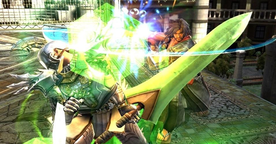 """Exclusivo de PS3, """"Soulcalibur: Lost Swords"""" é um free-to-play com modo de um jogador e, pelo beta, não é possível jogar oponentes para fora da arena"""