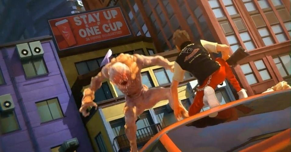 """Exclusivo do Xbox One, """"Sunset Overdrive"""" é do mesmo estúdio de """"Ratchet & Clank"""", e seus visuais vibrantes e coloridos se destacam entre os primeiros exclusivos da nova geração"""
