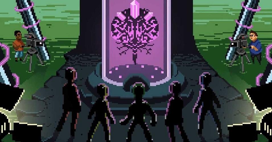 """Financiado por Kickstarter, o jogo brasileiro """"Chroma Squad"""" (Windows, Mac, Linux) mistura gerenciamento de negócios com combate em turnos, tudo inspirado nas séries de TV Tokusatsu como """"Super Sentai"""" e """"Power Rangers"""""""