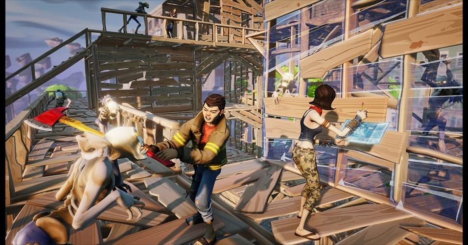 """""""Fortnite"""", agora sob cuidados da produtora de """"Bulletstorm"""" e """"GoW: Judgment"""", é um jogo de sobrevivência cooperativo em que jogadores devem criar estruturas para se proteger de monstros"""