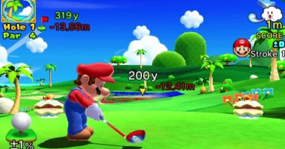 """""""Mario Golf: World Tour"""" para 3DS traz os personagens da Nintendo jogando em campos de golfes inspirados em locais de verdade, com a temática leve da série"""