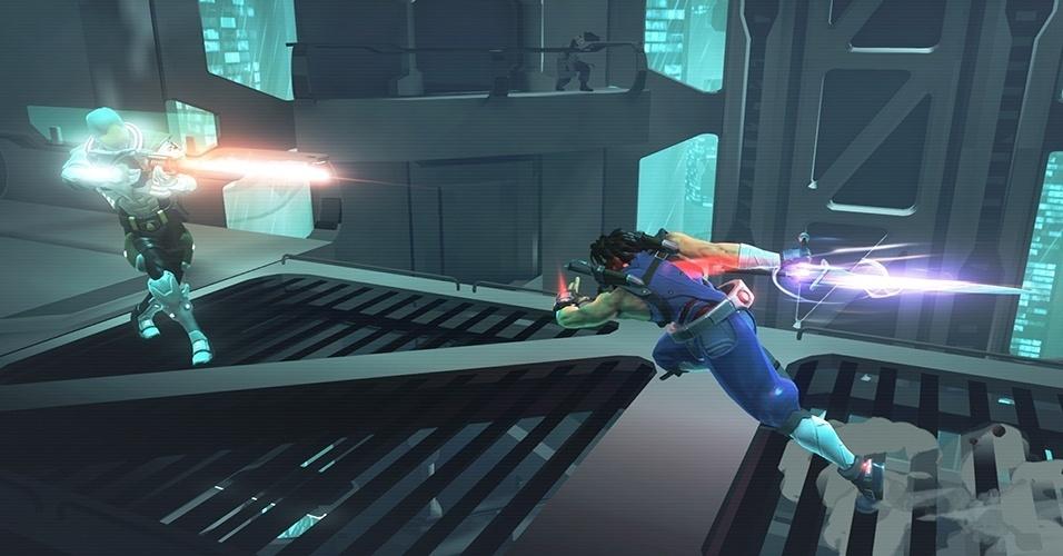 """O novo """"Strider"""" (Windows, PS3, PS4, X360, XBO), desenvolvido pela Double Helix - de """"Killer Instinct"""", tem influências de """"Shadow Complex"""", podendo ter seu ambiente explorado abertamente"""