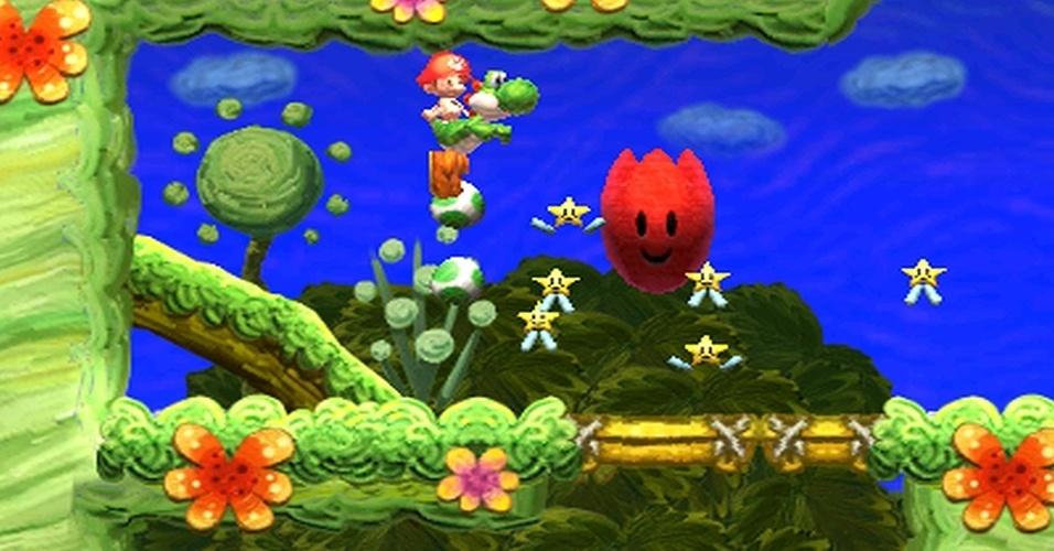 """""""Yoshi's New Island"""" para 3DS continua a tradição da série ao ter o mundo pintado de tintas a óleo até lápis de cera."""