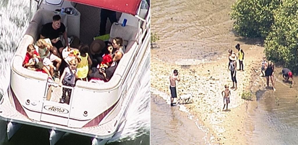 24.dez.2013 - Angelina Jolie e Brad Pitt fazem passeio de barco com os filhos na Austrália