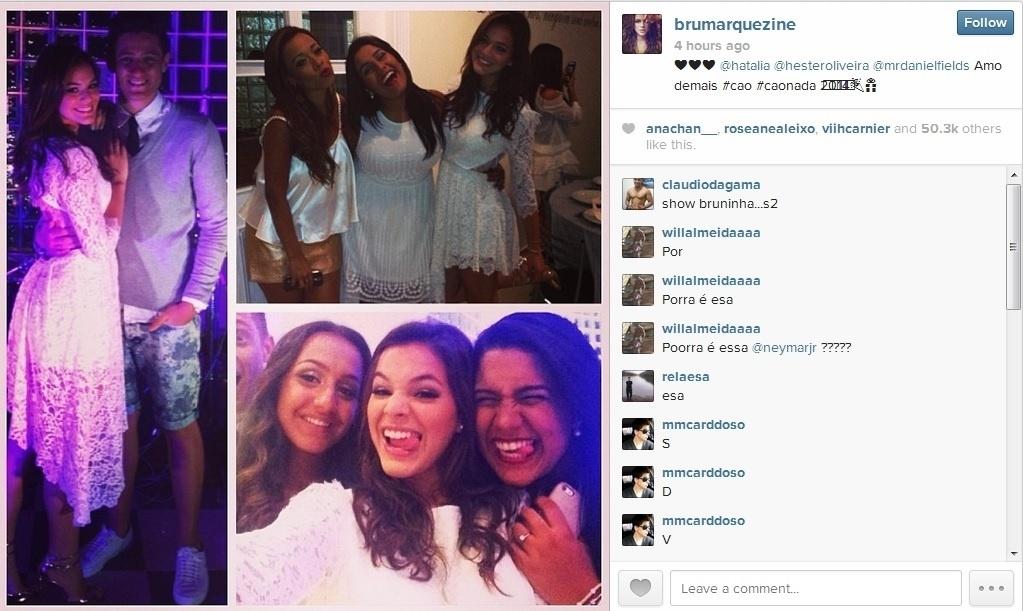 31.dez.2013 - Sem o namorado, o jogador Neymar, Bruna Marquezine curtiu festa de réveillon acompanhada de amigas