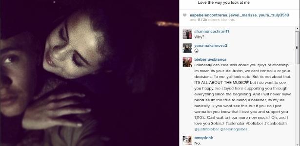 Justin Bieber publica foto dele e Selena Gomez abraçados