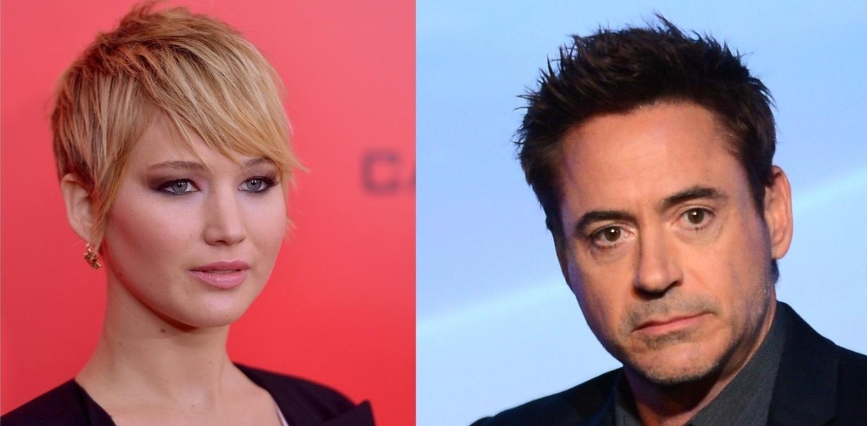 Os atores Jennifer Lawrence e Robert Downey Jr., que apresentarão prêmios do Globo de Ouro