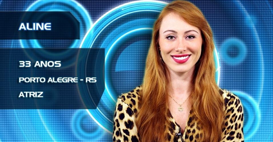 """Aline tem 32 anos e é atriz de Porto Alegre, (RS). O """"BBB14"""" estreia na próxima terça, dia 14"""