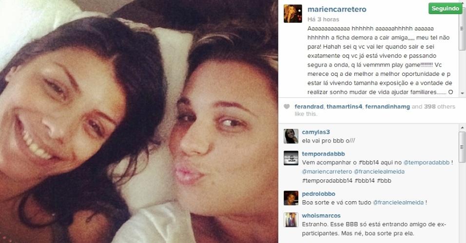 Ex-BBB Marien deseja boa sorte para amiga Franciele Almeida do