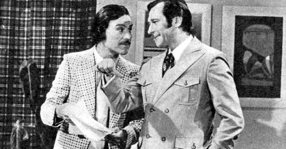 """1972 - Paulo Goulart e Leonardo Villar na novela """"Uma Rosa Com Amor"""""""
