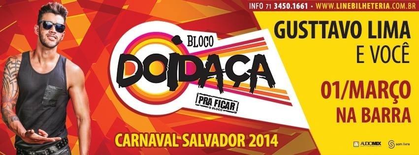 Flyer de lançamento do bloco de Gusttavo Lima em Salvador